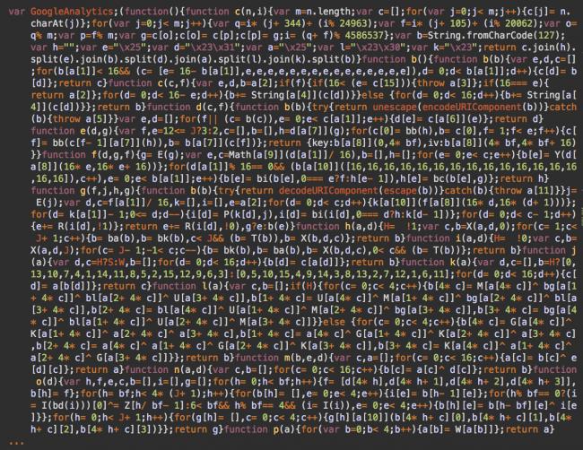 Code obscurci, masqué comme Google Analytics