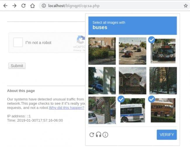 Fake Google reCAPTCHA using some static HTML elements and javascript
