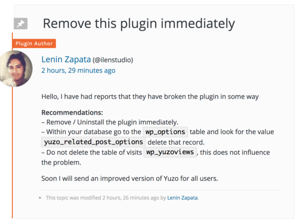 Remove youzo-related-post plugin immediately