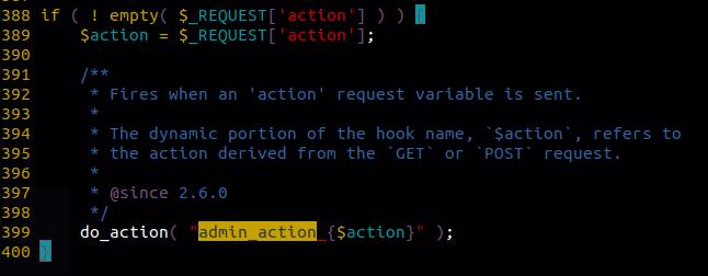 WordPress admin_action_ hook