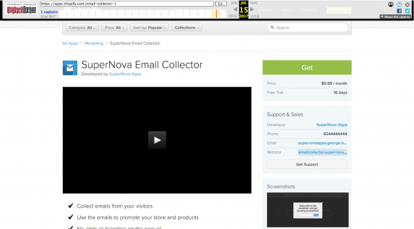 Wayback Machine snapshot with the SuperNova Email Collector app on Shopify
