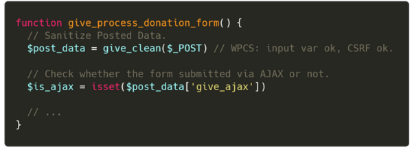 ​​The function handling the donation form
