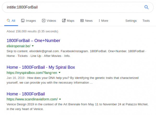 Google Search Results for 1800ForBail