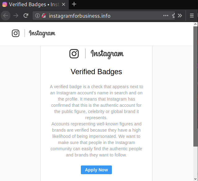 Verified Instagram Phishing Page