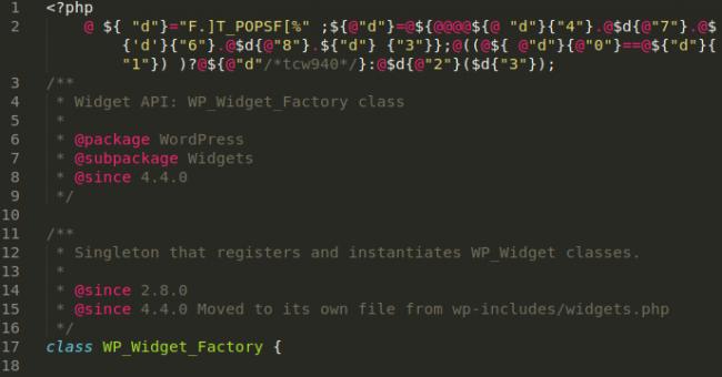 Backdoor variant in wp-includes/class-wp-widget-factory2.php