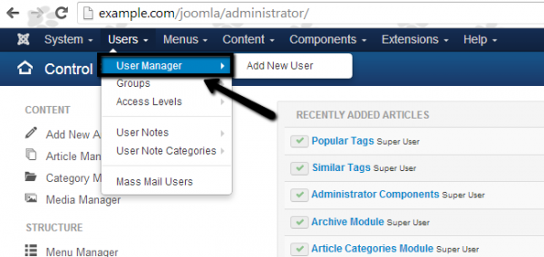 Joomla administrator