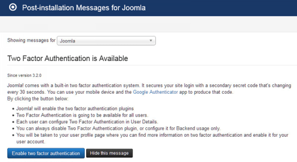 Post installation messages for Joomla!