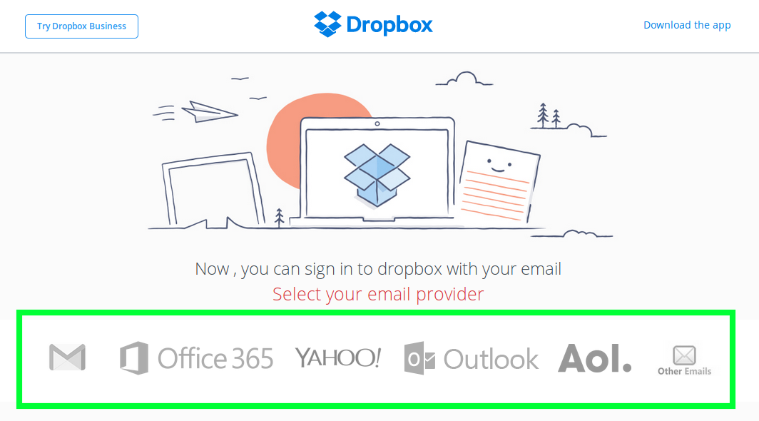 Dropbox phishing page woith list of email providers