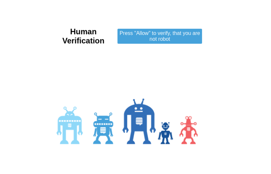 Human verification in push notification landing page
