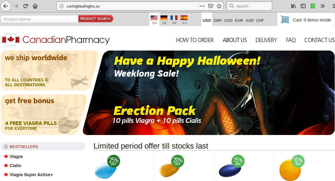 "Typical ""Canadian Pharmacy"" landing page"