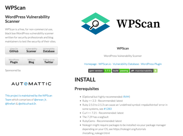 WPScan - WordPress Vulnerability Scanner