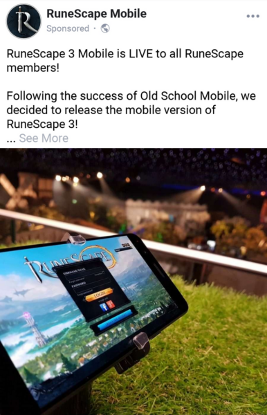 RuneScape Mobile Phishing Post