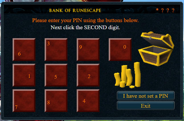 Bank pin verification for RuneScape