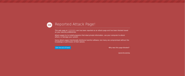 Example of a blacklisted page warning