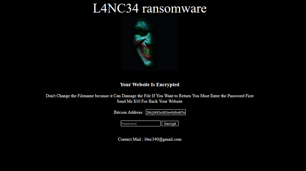 L4NC34 Ransomware User Interface