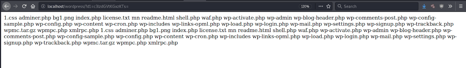 directory file listing malicious code