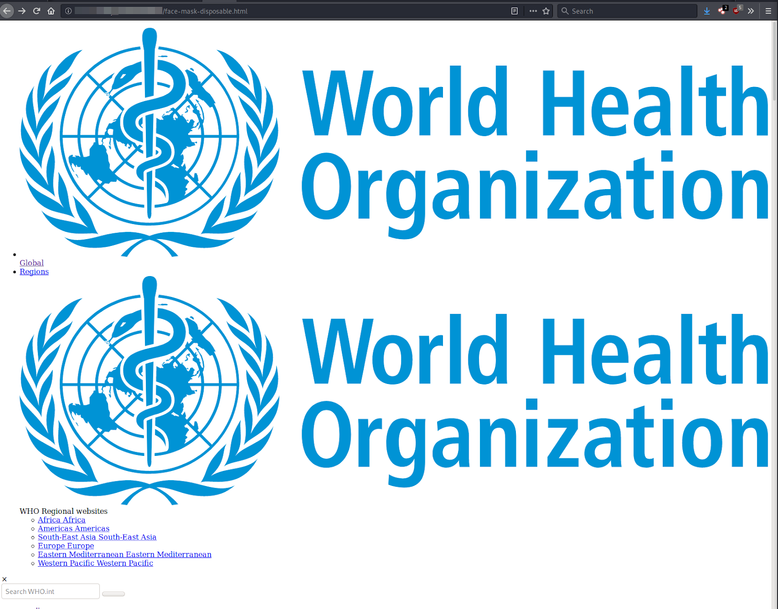 World Health Organization spam image
