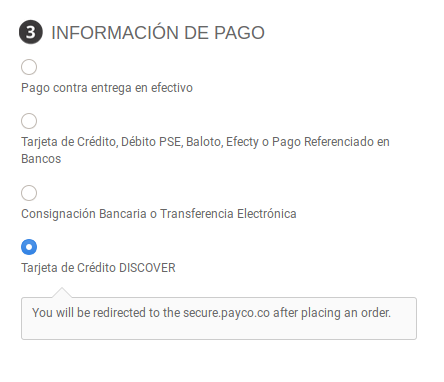 redirect to payment processor