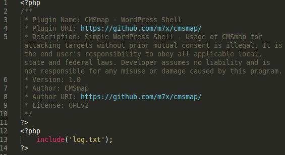 Fake CMSmap WordPress Shell
