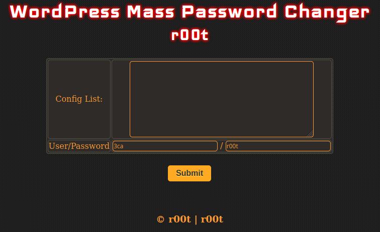 wordpress mass password changer user interface