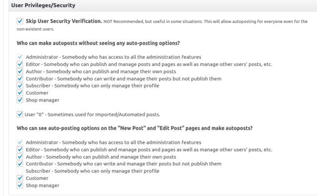 user privileges and security settings for nextscripts plugin