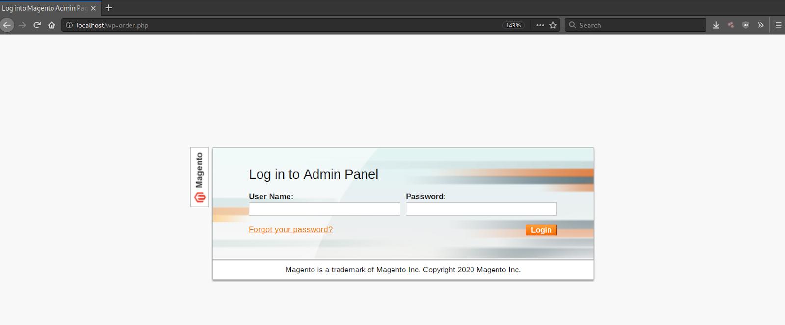 Magento Admin Panel Phishing