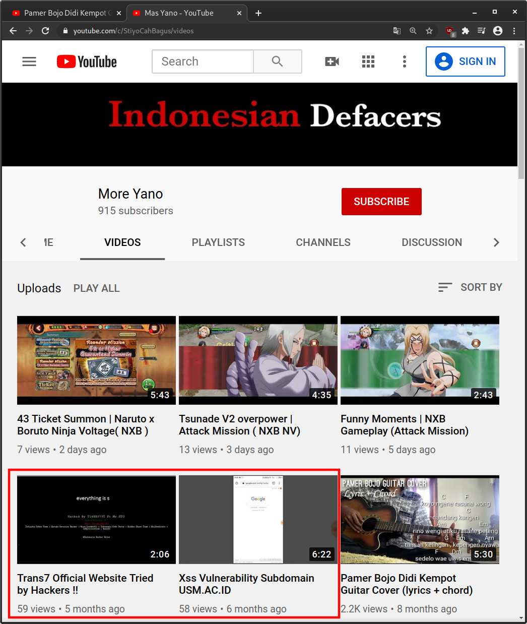 Indonesian Defacers YouTube Channel