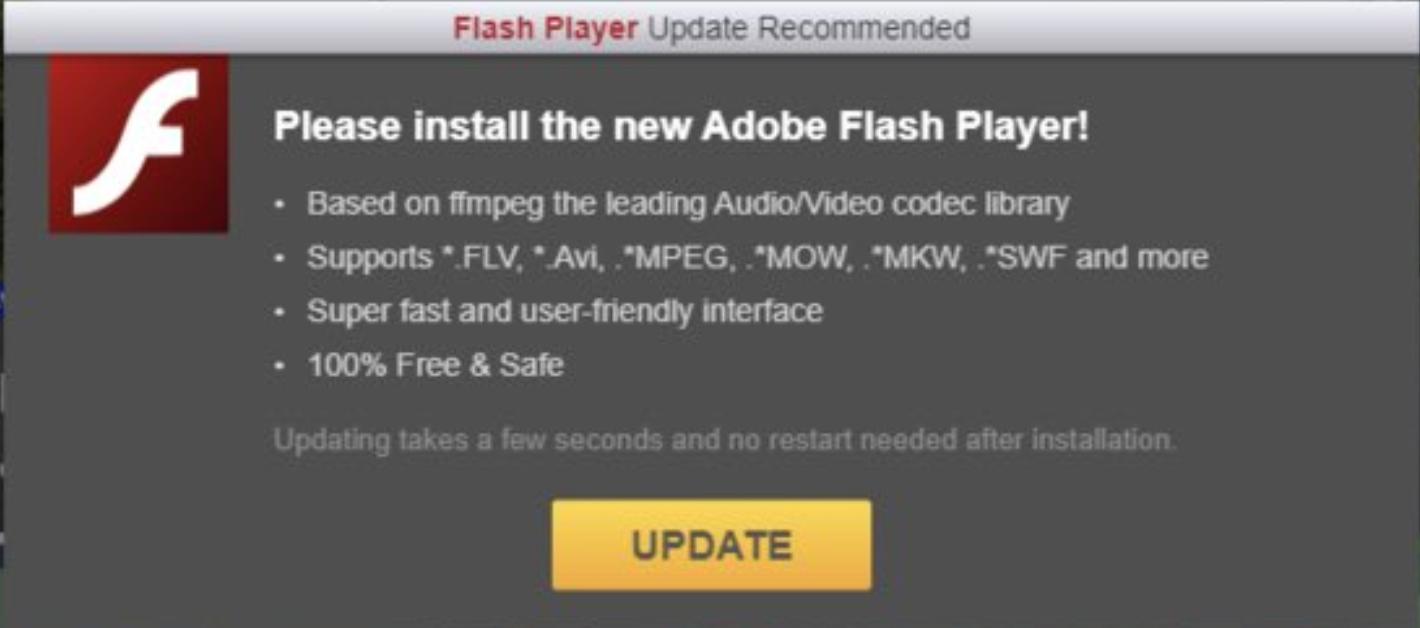 Fake flash layer updates phishing