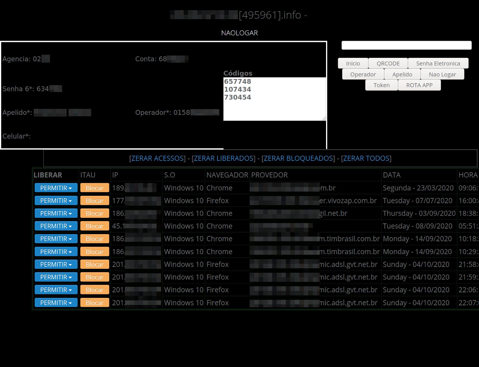 Phishing panel as seen by hacker