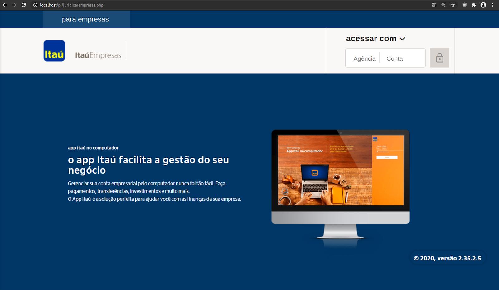 Fake login page for Brazilian bank