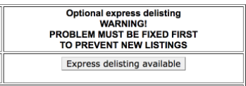 Express delisting ransom payment