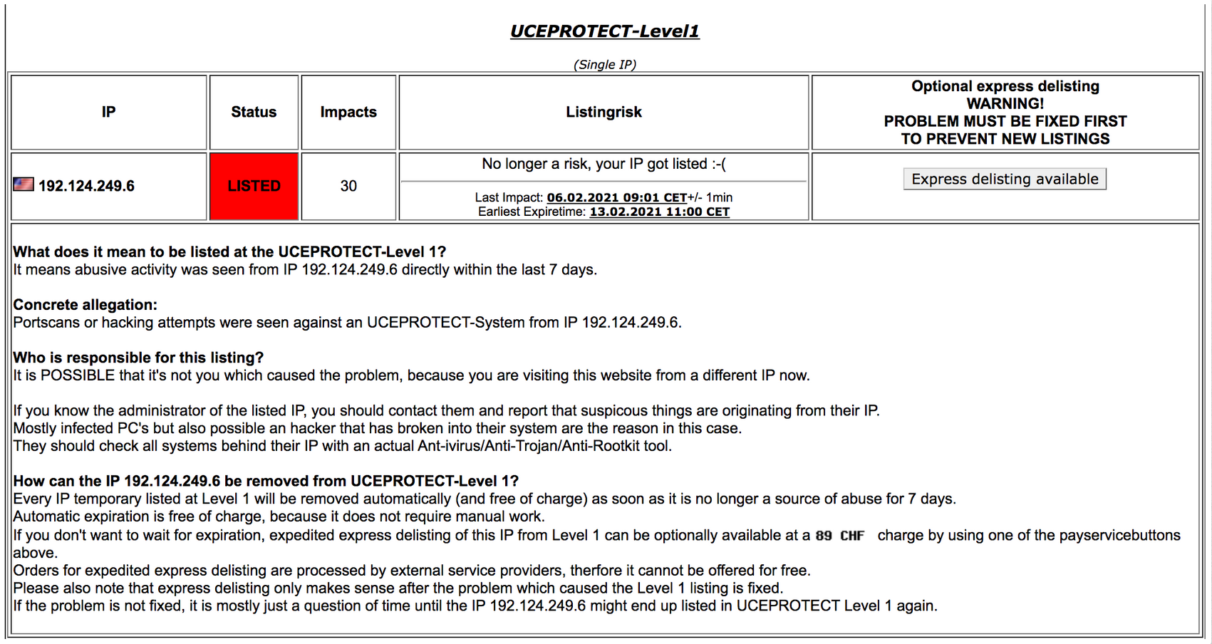 UCEPROTECT Level 1 Warning