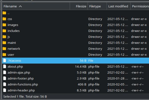 .htaccess ain the wp-admin directory in FileZila
